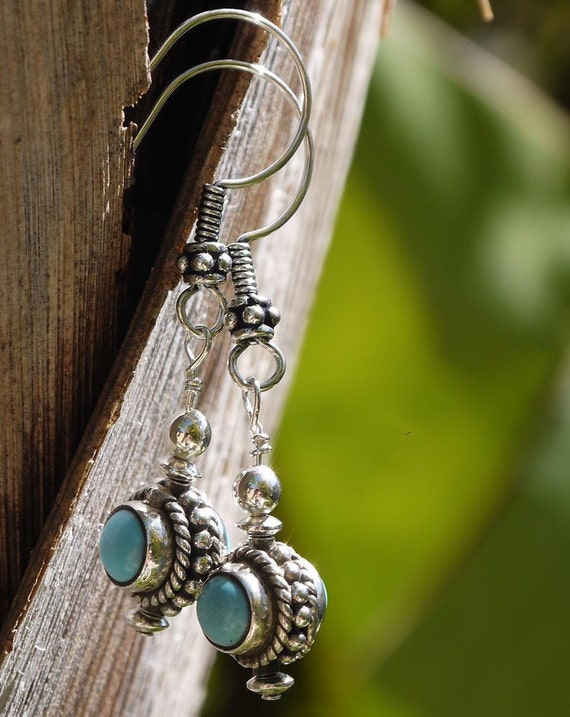 Sterling Silver and Turquoise Earrings With Unique Double Sided Turquoise Bead