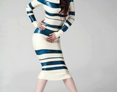 Custom Mademoiselle French themed Latex Dress, horizontal stripes pencil dress with long sleeves.