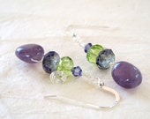 Amethyst and Crystal Earrings
