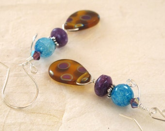 Blue Agate and Purple Jade Peacock Beaded Earrings
