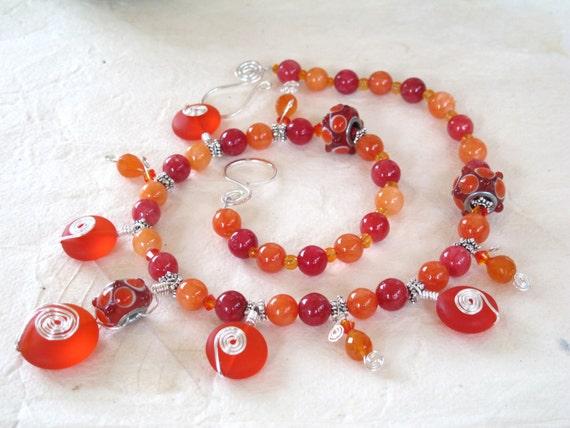 Carnelian and Sea Glass Necklace