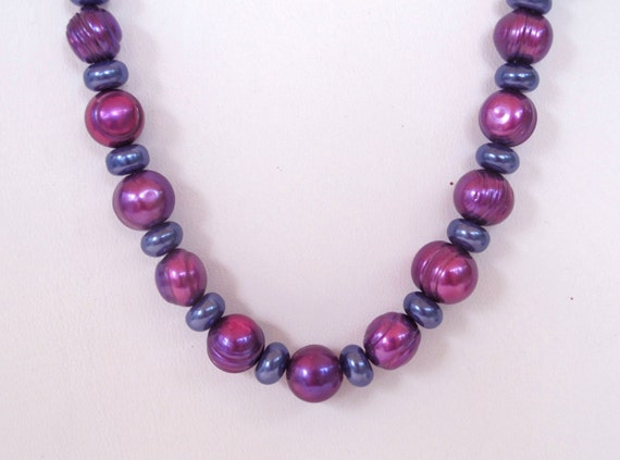 Blue and Magenta Pearl Necklace