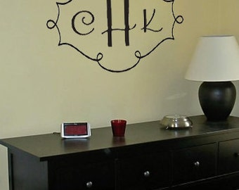 Monogram Initials and Swirl Frame Vinyl Wall Art Decal
