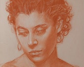 "Original drawing woman portrait, classical feel, pastel pencil on toned Canson paper 11"" x 14"" ready for framing by artist Vernon Grant"
