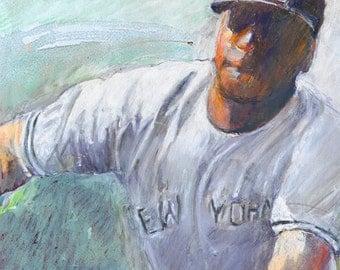 "Baseball sports art, fine art digital print from my original pastel, by Vernon Grant, New York Center Field, 11"" x 14"""