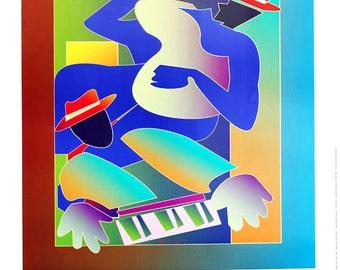 "Music art print jazz stylized colorful jazz and blues 22"" x 30"" large print, Rhythm Jam Two"
