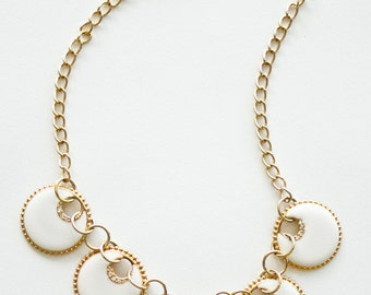 CLEARANCE SALE was 60 now 30 vintage 1970s/80s AVON white disc necklace w/gold chain and diamantes