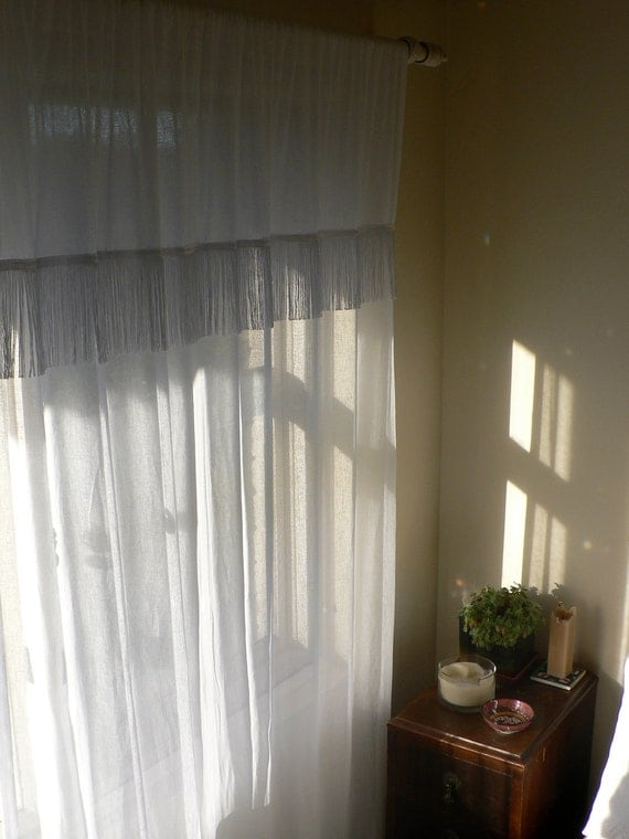 CURTAINS: Pair of White Cotton Muslin Sheer Fringe Rod Pocket Curtain