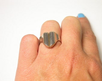 Vintage Abstract Sterling Silver Ring - Size 5.5 - Weight 5 Grams - Geometric ring - Modern Design Ring # 401