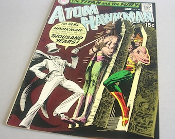 Vintage Comic Book The Atom and Hawkman No. 44, The Titan and the Fury, September 1969, DC Comics