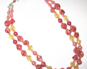 Warm Pink 2 Strand Vintage Necklace