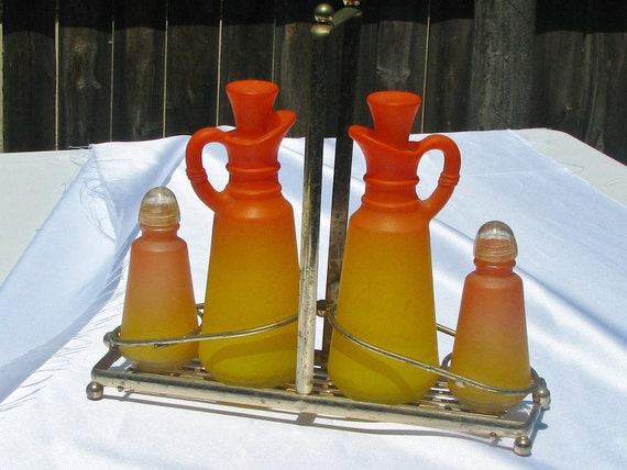 SALE  Mid Century MOD  ORANGE and Yellow Frost Glass Cruet Set Anchor Hocking