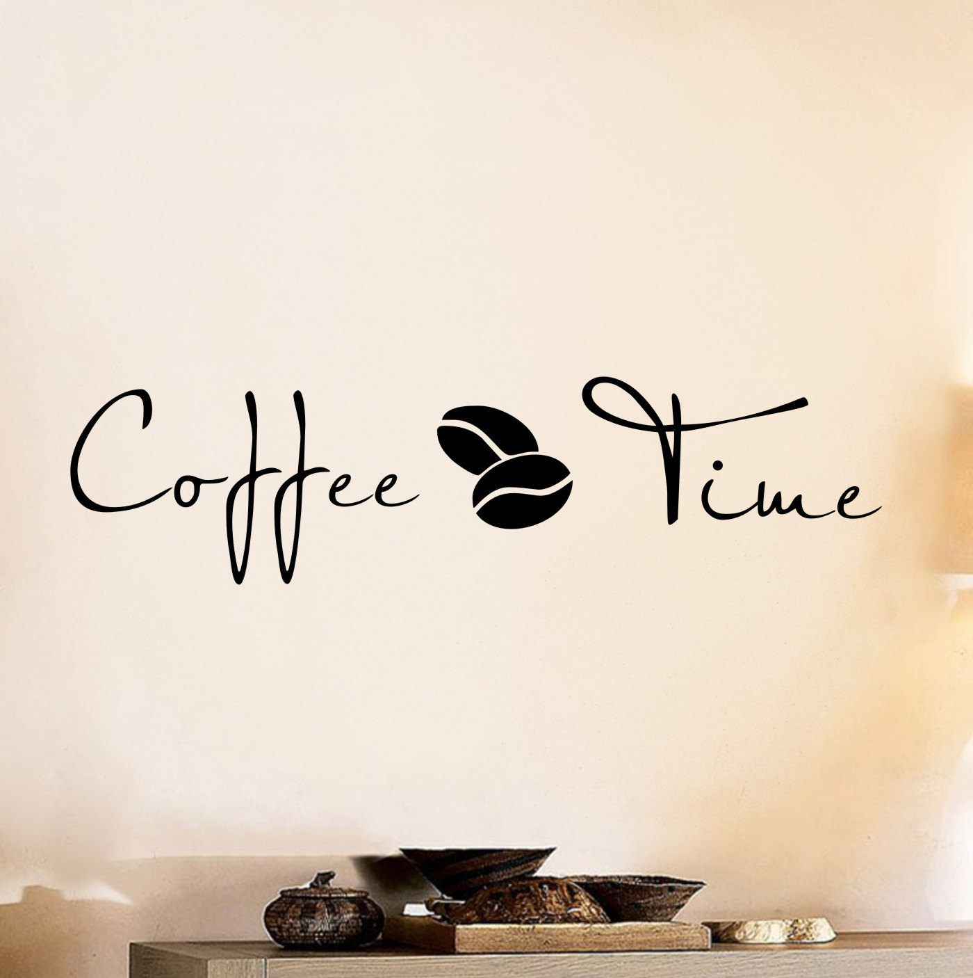 Coffee time wall art decal sticker by decalplaza on etsy for Mural coffee