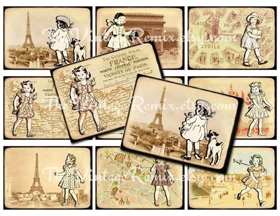 INSTANT DOWNLOAD, Digital Collage Sheet, ATC Paris Vintage Girls, Printable Graphics, Scrapbooking, Journaling, Retro Travel, Eiffel Tower
