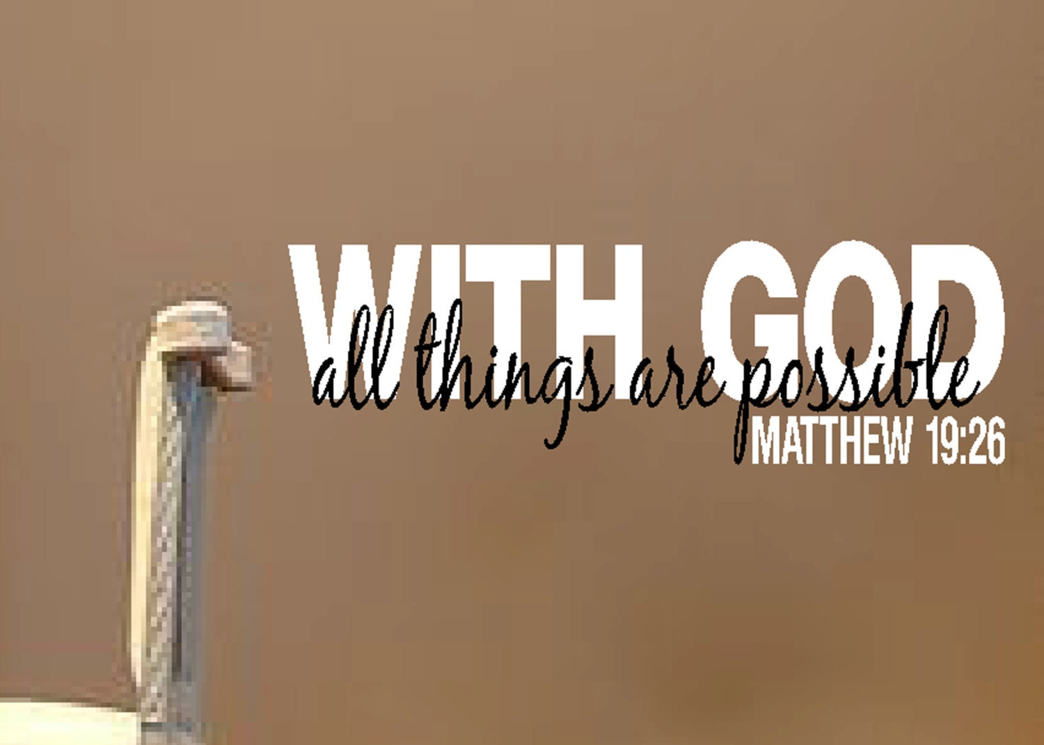With god all things are possible matthew 1926 scripture wall zoom amipublicfo Image collections