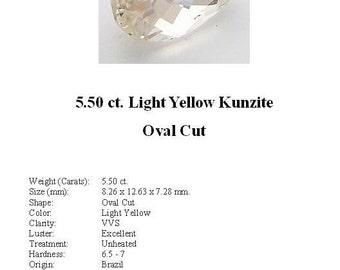 KUNZITE - Pretty 5.50 Ct. Light Yellow Kunzite GemStone in a Nice Oval  Cut...