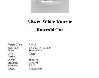 KUNZITE - Absolutely Gorgeous 3.84 ct. White Kunzite GemStone in an Elegant Emerald Cut...