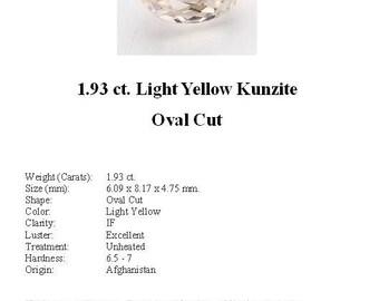 KUNZITE - Sweet Little 1.93 ct. Pale, Pale Yellow Kunzite GemStone in an Beautiful Oval Cut...