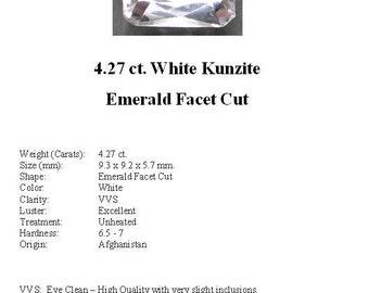KUNZITE - Striking 4.27 ct. White Kunzite GemStone in an Elegant Emerald Cut...