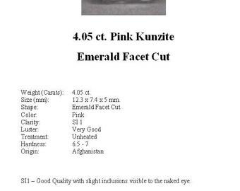 KUNZITE - Pretty Pale Pink 4.05 Carat Kunzite GemStone in a Faceted Emerald Cut...