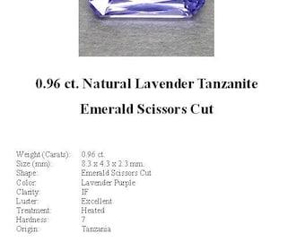 TANZANITE - 0.96 Carats of Lavender Tanzanite in a Striking Emerald Scissors Cut...