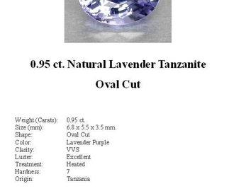 TANZANITE - 0.95 Carats of Gorgeous Ice Blue/Lavender Tanzanite in a Beautiful Oval Cut...