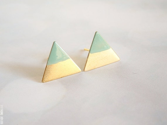 Mint Dipped Triangle Earring Studs