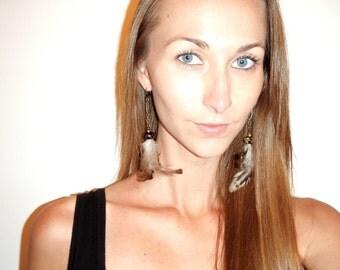 Brown Feather Earrings, Boho Dangle Earrings, Bohemian Earrings, Tribal Jewelry, One of a Kind