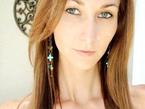 Natural Turquoise Dangle Earrings, Turquoise Cross Earrings, Bronze Charm Earrings, Turquoise Earrings, Boho Cross Earrings