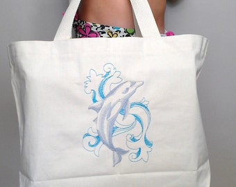 Dolphin Tote Bag Beach Market Purse Book Bag Embroidered