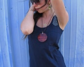 Vertical Cow Girl Top, Navy, Eco Summer Shirt, Sleeveless, Loose fit, Repurposed, Small, Medium