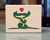 Snake Hug, Wood Mounted Rubber Stamp by Crackerbox Palace - Valentine's Day Theme