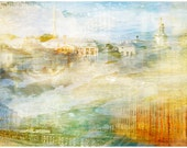 Abstract Watercolor city art photography, St Petersburg cityscape oversized artwork, large Wall Art print, living room decor, 12x18, 16x24
