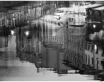 Black wall art, large Abstract photography, night city art print, water reflection, St Petersburg large artwork poster, 16x24, 20x30, 24x36