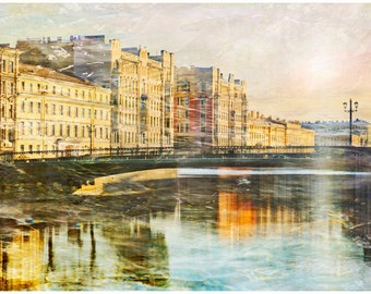 Architectural landscape photography, St Petersburg large Wall art print, city art poster, living room decor, Russian travel photo, 24x36
