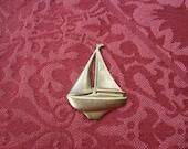 1 Vintage Brass Sailboat Stamping   (large)  ..  B - 8