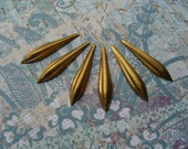 6 Vintage Brass Creased  Spear  Stamping