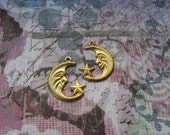 2 Vintage Brass Moon and Star Facing Pair Stamping
