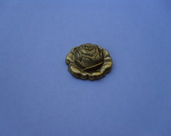 2 Vintage Brass Rose Stampings