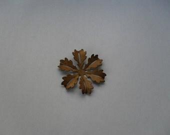 3  Vintage Red Brass Flower Stamping