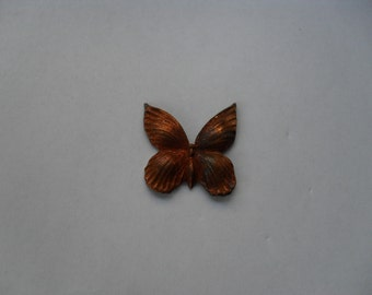 3 Vintage Red  Brass Butterfly Stampings