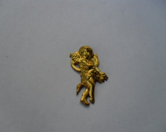 2 Vintage Brass Large French Style Cherub Stamping