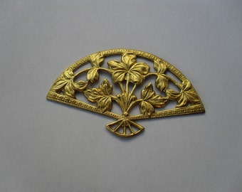 2 Vintage Brass Ornate Large Floral Filigree Fan Stampings     t-36