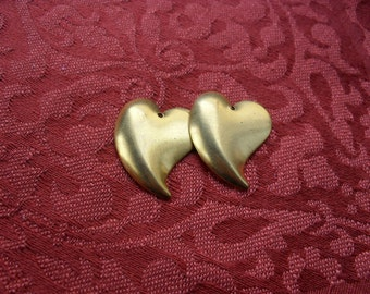 2 Vintage Brass Curved Heart Stampings    (medium)