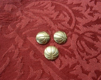 3 Vintage Brass Basketball or Soccer Ball Stampings  ..  B - 13