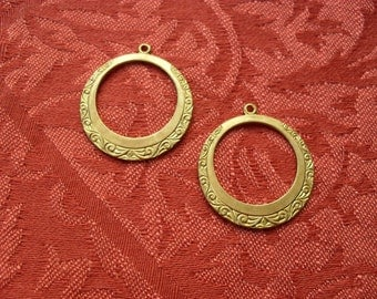 2 Vintage Brass Scroll Hoop Stamping  ..  B - 3