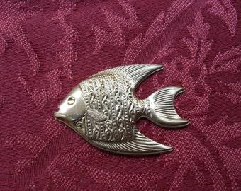 2 Vintage Large Brass Fish Stamping