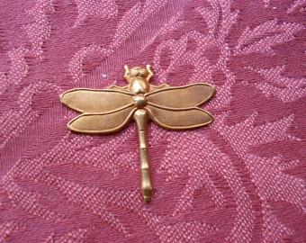 1  Large Vintage Red Brass Dragonfly Stamping