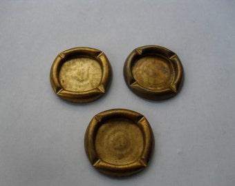 3 Vintage Brass Button Setting    ...   C - 1