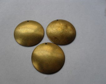 3 Vintage Brass Domed Stamping    ...   t-33